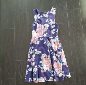 Navy Flower Fit and Flare Dress Size S